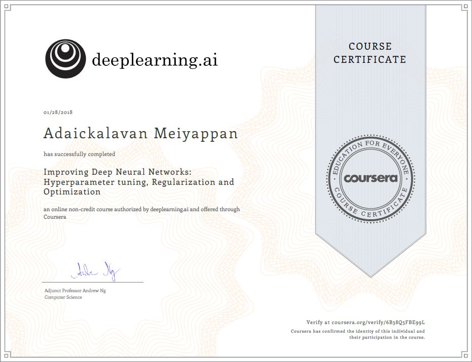 Deep learning andrew ng machine learning and statistical signal regularization and optimization certificate yadclub Images